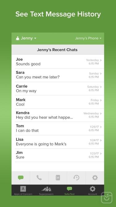 تصاویر SaferKid Text Monitoring App